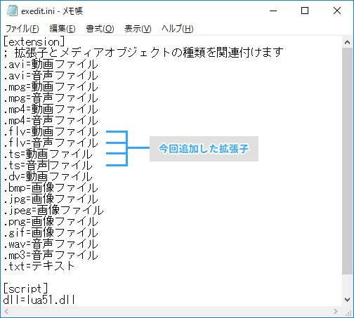 拡張編集プラグインのiniファイル書き換え