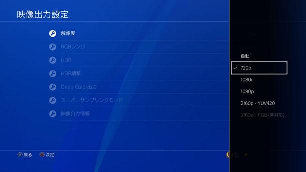 PS4の映像出力設定