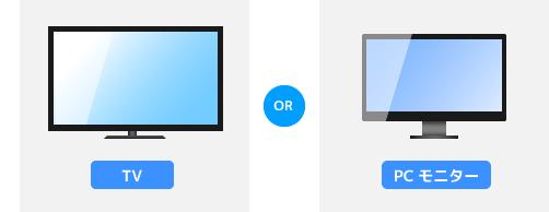 TV、またはPCモニターを用意