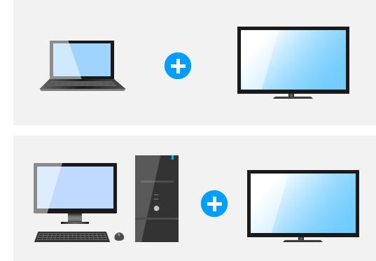 ノートとTV、デスクトップとTV