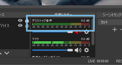 「デスクトップ音声」のレベルメーター